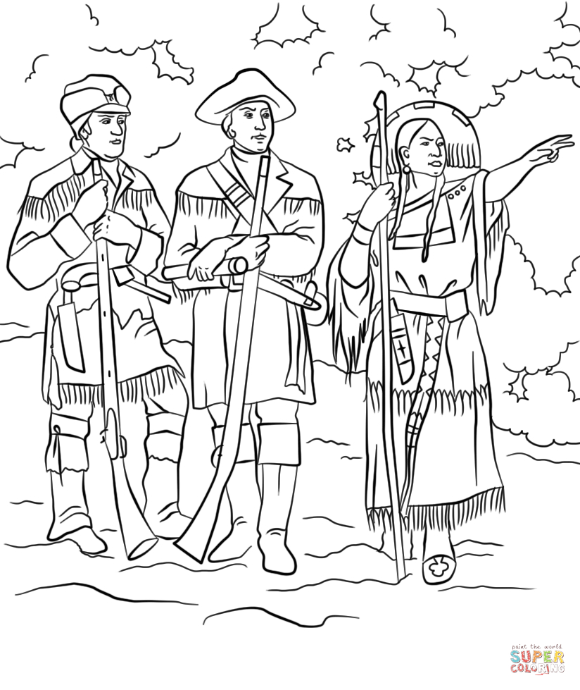 Sacagawea With Lewis And Clark Coloring Page | Free Printable | Sacagawea Printable Worksheets