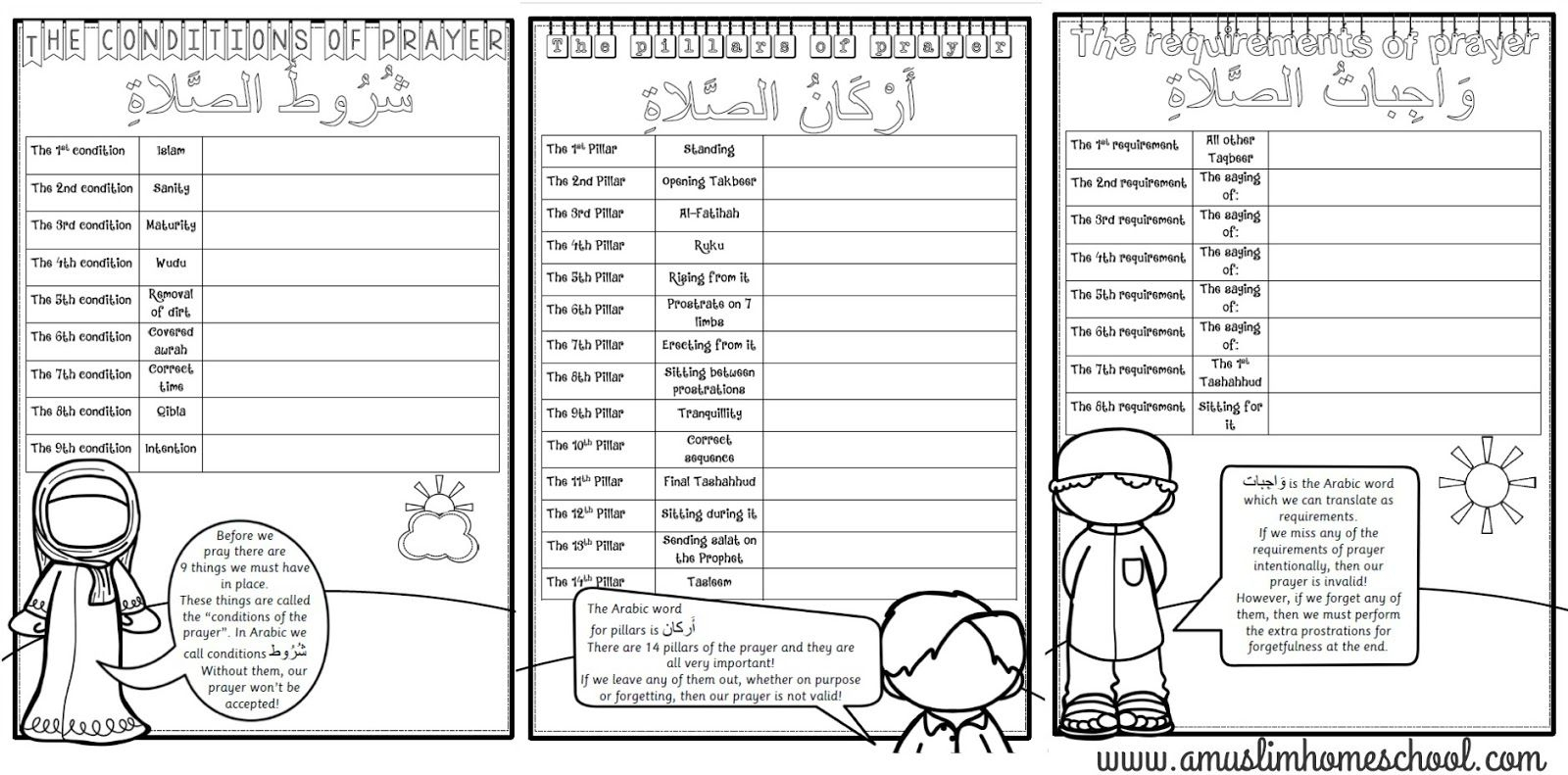 Salaah Worksheet Folder Printable; The Conditions, Pillars And | Islamic Printable Worksheets