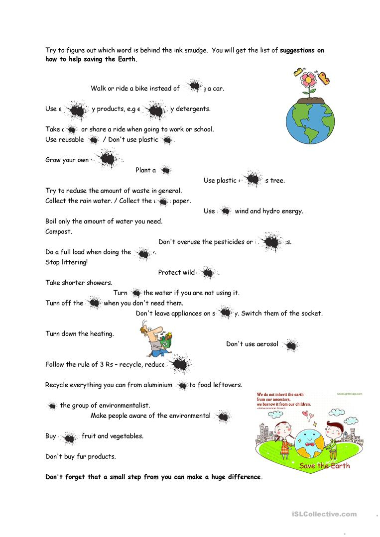 Save The Earth Worksheet - Free Esl Printable Worksheets Made | Earth Printable Worksheets