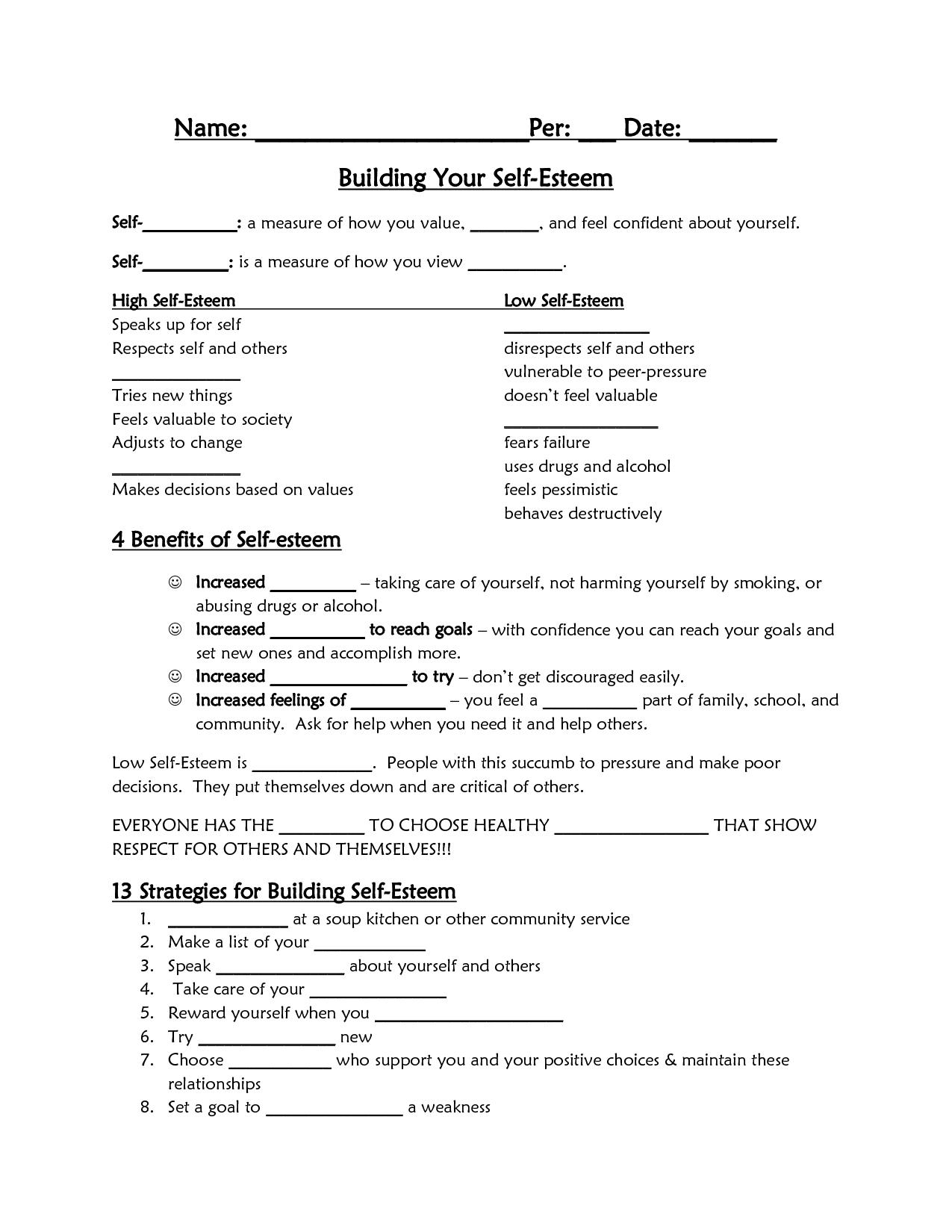 Self-Esteem Worksheet - Google Search | Self-Esteem/confidence | Printable Self Esteem Worksheets For Teenagers