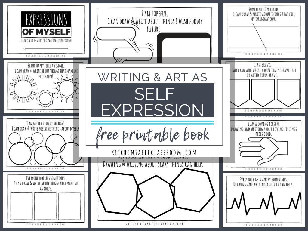 Self Expression Through Writing & Art- Free Self Esteem Worksheets | Self Esteem Printable Worksheets