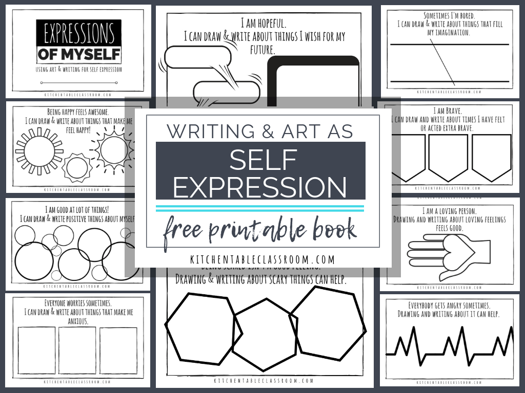 Self Expression Through Writing & Art- Free Self Esteem Worksheets | Self Esteem Worksheets For Kids Free Printable