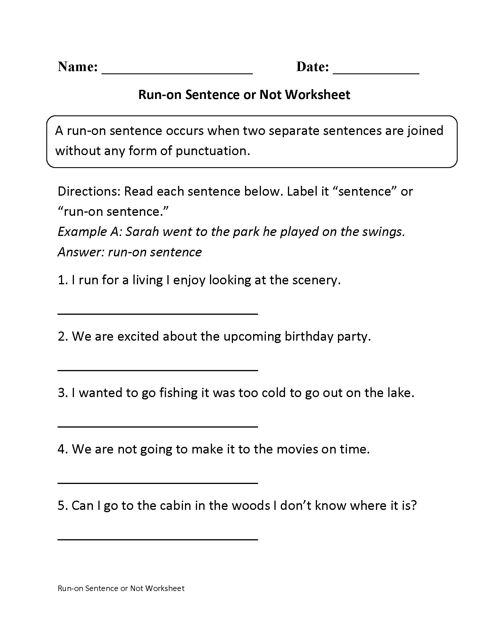Sentences Worksheets | Run On Sentences Worksheets - Free Printable | Free Printable Sentence Correction Worksheets
