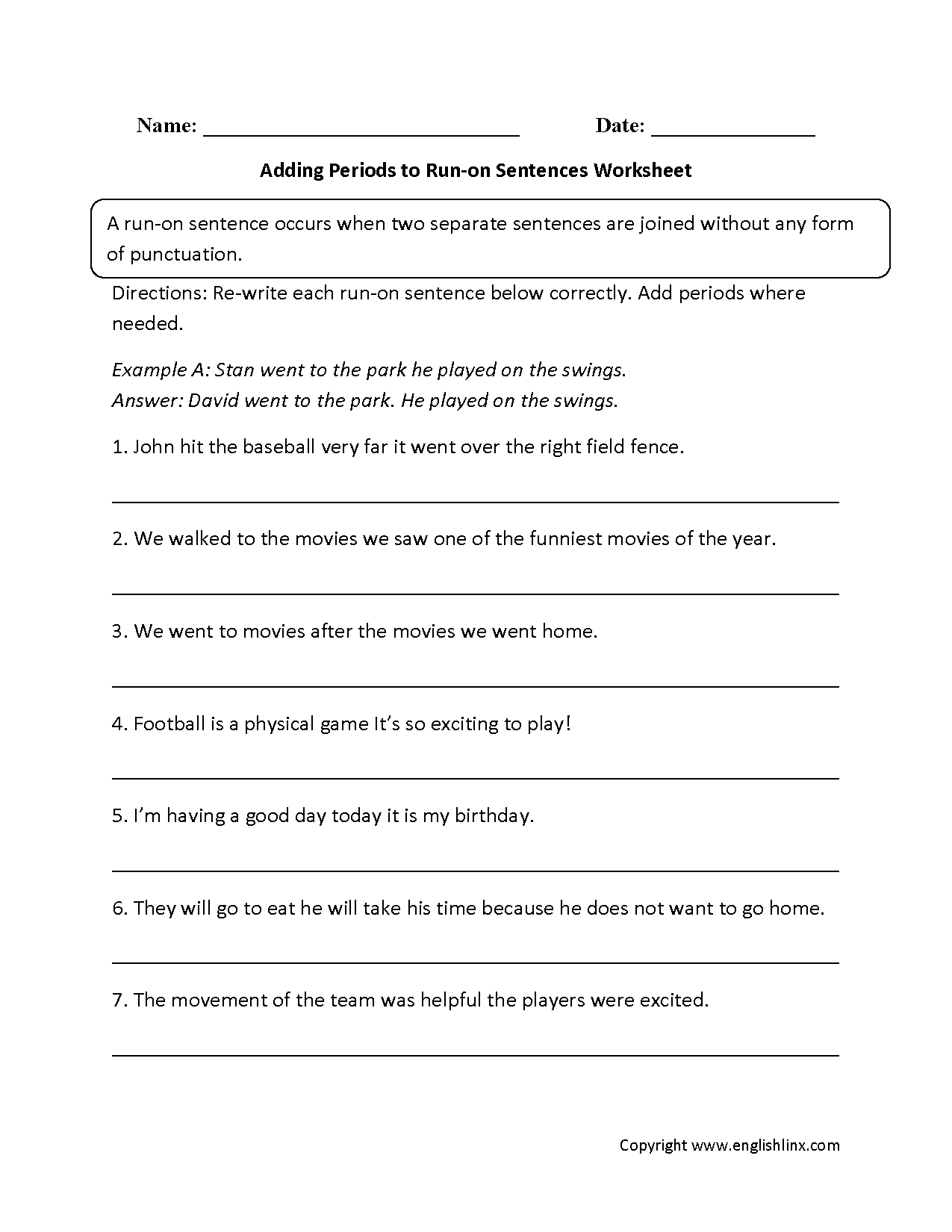 Sentences Worksheets | Run On Sentences Worksheets | Free Printable Worksheets On Run On Sentences