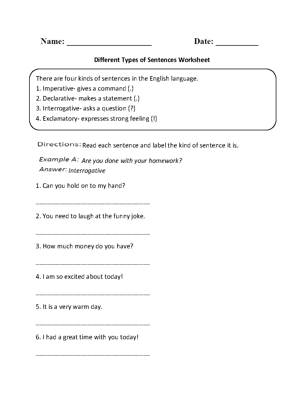 Sentences Worksheets | Types Of Sentences Worksheets | Free Printable Types Of Sentences Worksheets