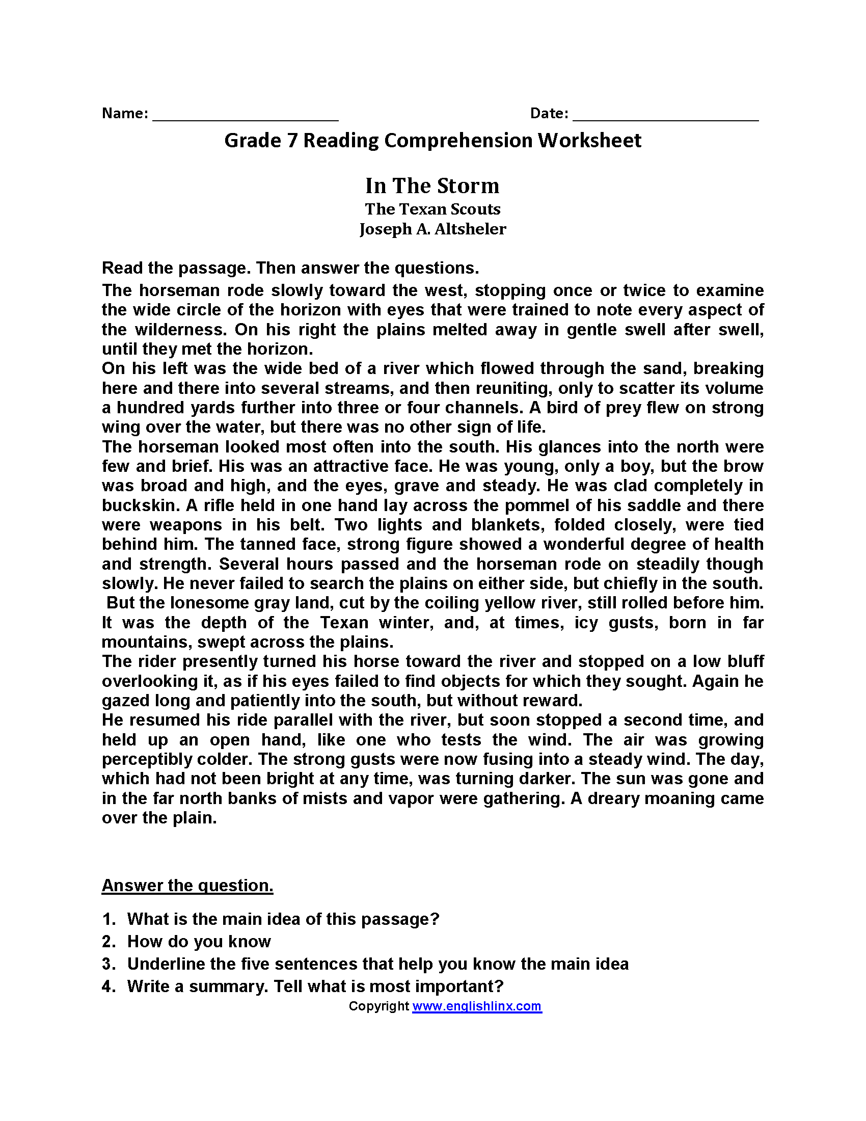 Seventh Grade Reading Worksheets | Englishlinx Board | Reading | Free Printable Middle School Reading Comprehension Worksheets