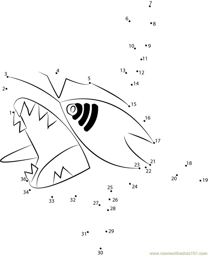 Sharpedo Water Pokemon Dot To Dot Printable Worksheet - Connect The Dots | Pokemon Worksheets Printable