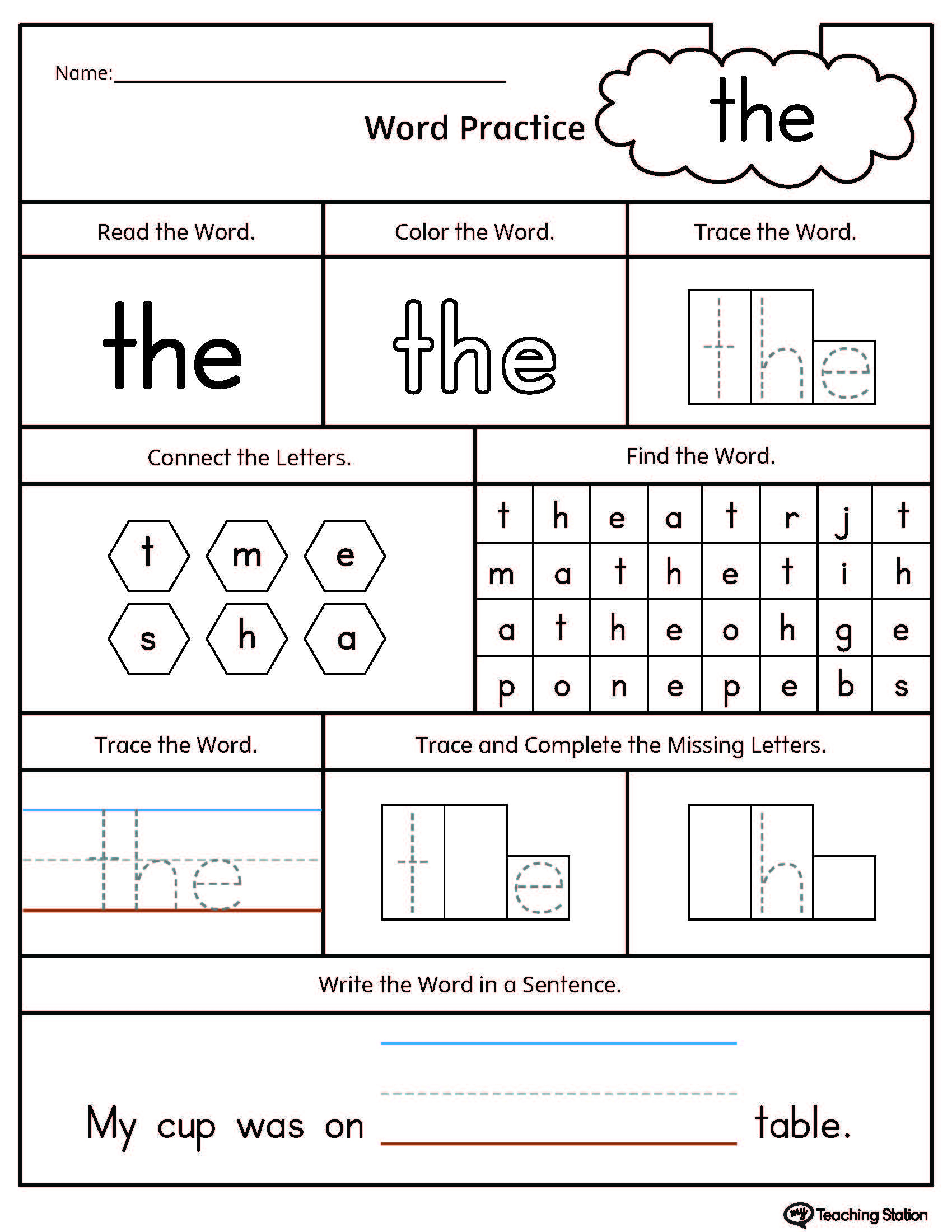 Sight Word The Printable Worksheet | Myteachingstation | Printable Worksheets Com