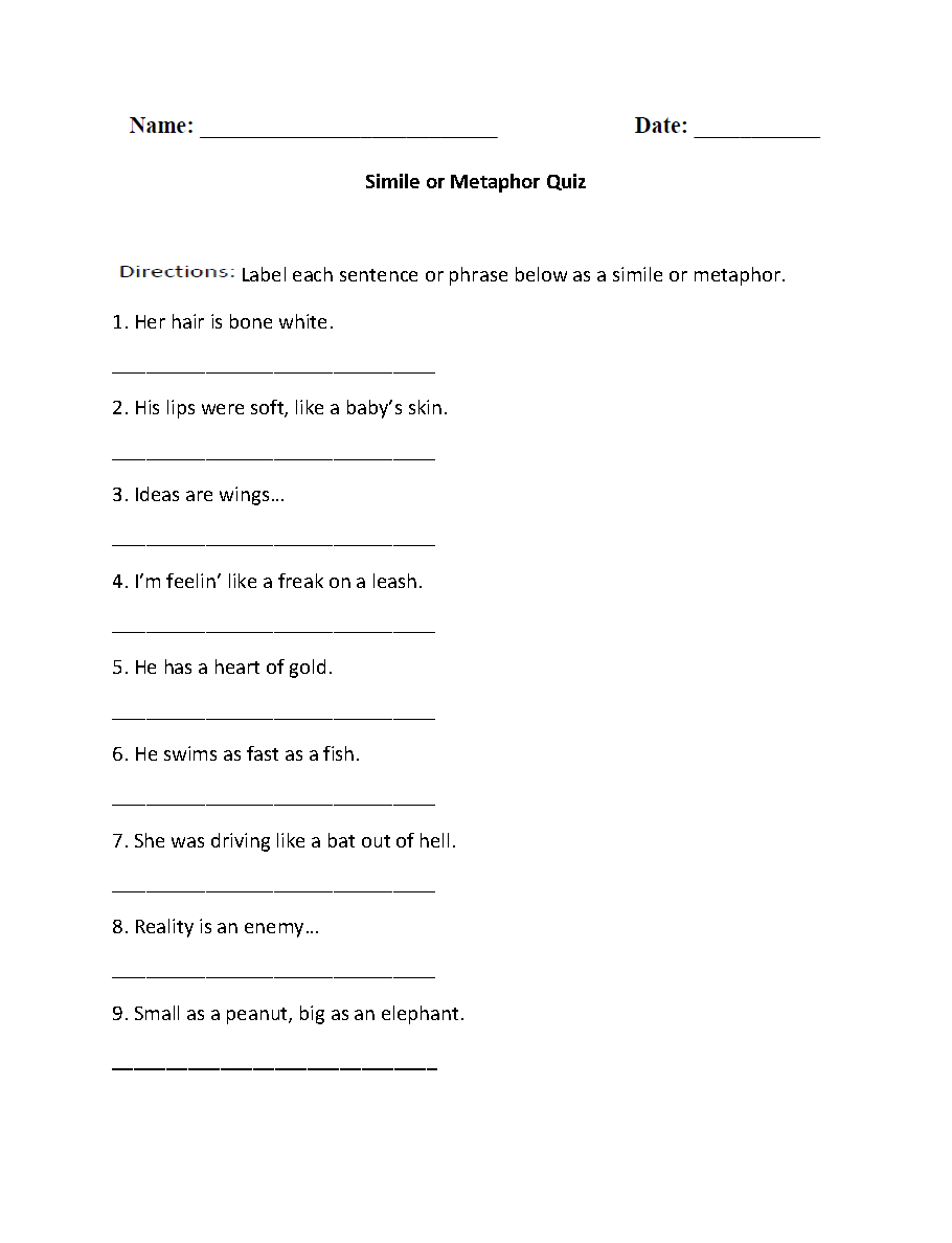 Simile Or Metaphor Quiz Worksheet | Writing | Simile, Similes | 4Th Grade Printable Worksheets Language Arts