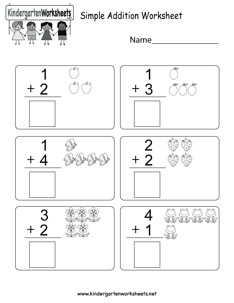 Simple Addition Worksheet - Free Kindergarten Math Worksheet For | Simple Addition Worksheets Printable