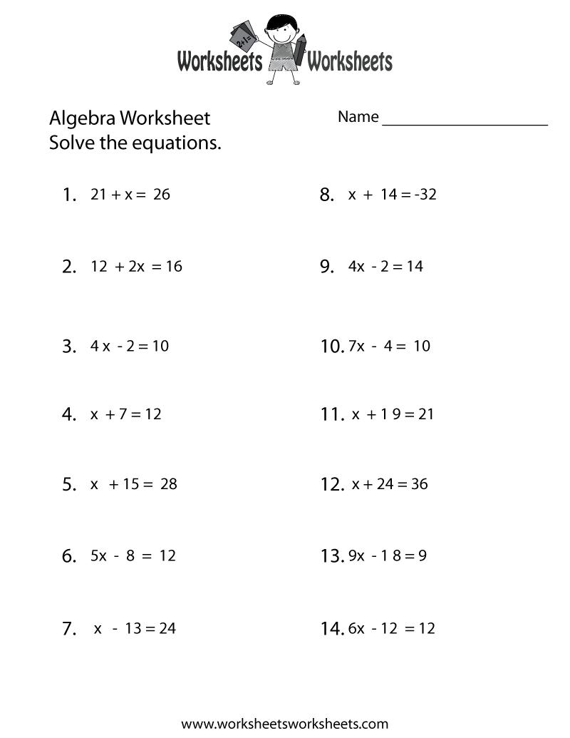 Simple Algebra Worksheet Printable | Math Worksheets | Pinterest | Free Printable Algebra Worksheets Grade 6