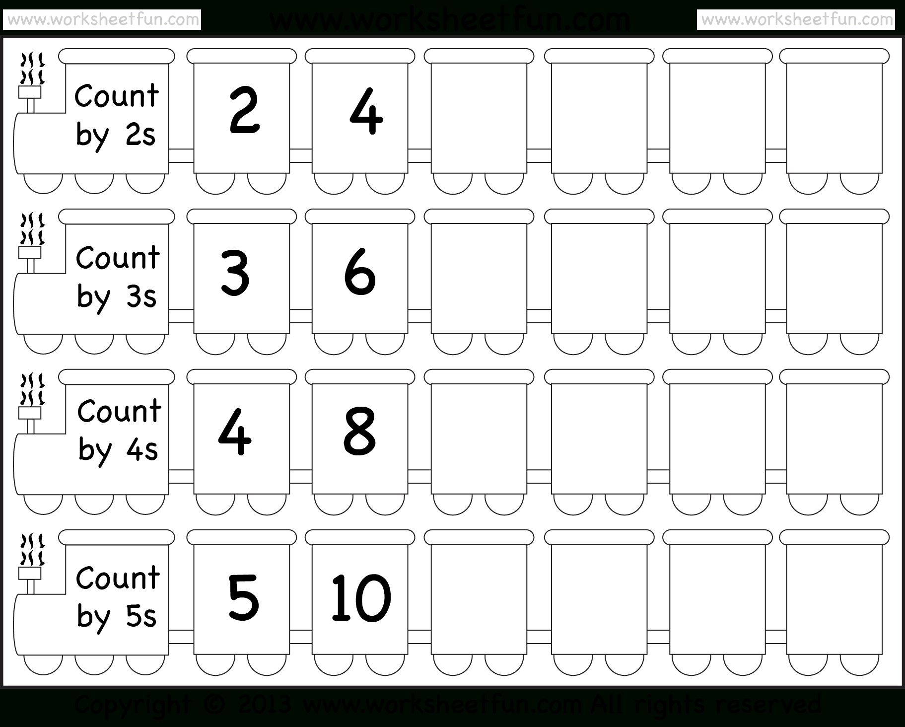 Skip Counting2, 3, 4 And 5 – Worksheet / Free Printable | Counting In Twos Worksheet Printable