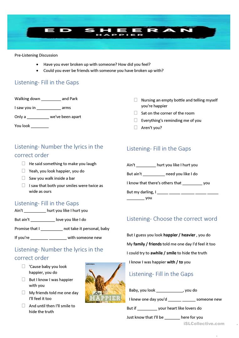 Song Happiered Sheeran Worksheet - Free Esl Printable Worksheets | Happiness Printable Worksheets