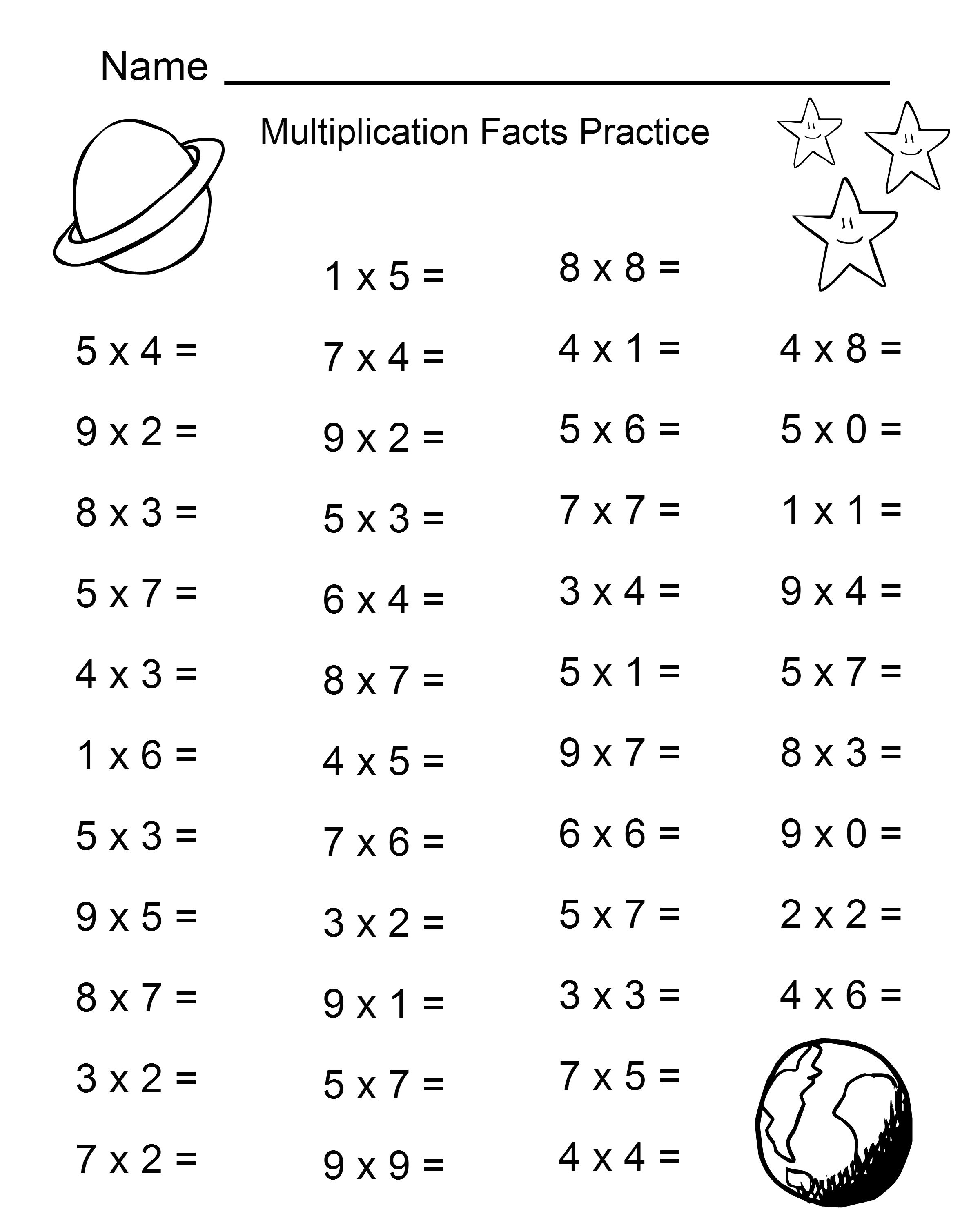 Space Theme - 4Th Grade Math Practice Sheets - Multiplication Facts | 4Th Grade Printable Multiplication Worksheets