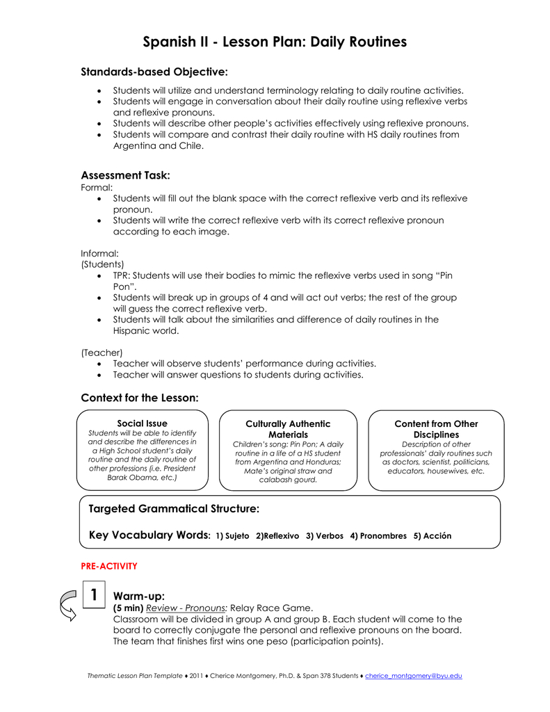 Spanish Ii - Lesson Plan: Daily Routines | Reflexive Verbs In Spanish Printable Worksheets