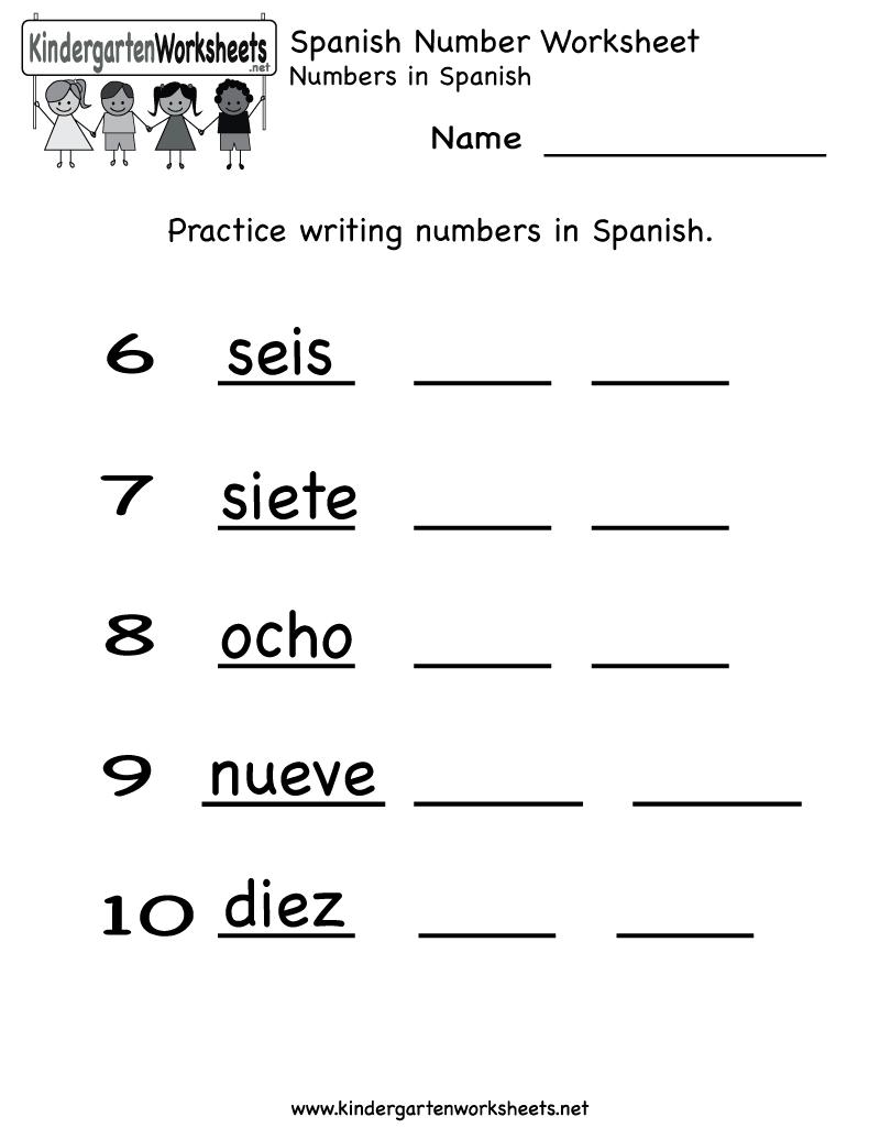 Spanish Number Worksheet - Free Kindergarten Learning Worksheet For Kids | Free Printable Spanish Worksheets For Beginners