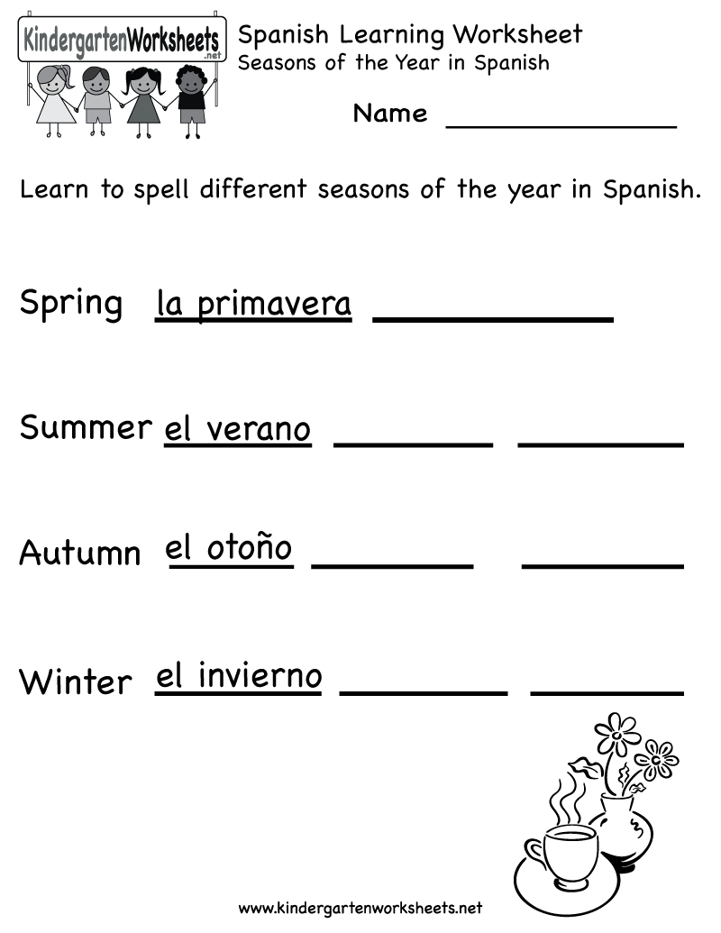 Spanish Worksheets For Kindergarten | Free Spanish Learning - Free | Free Printable Elementary Spanish Worksheets
