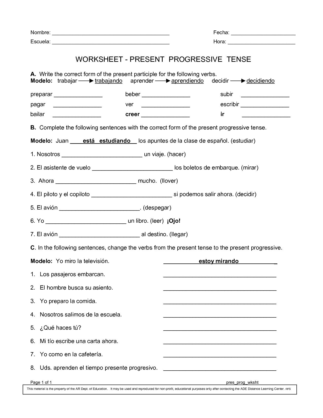 Spanish Worksheets Printables | Present Progressive Worksheet | Present Progressive Worksheets Printable
