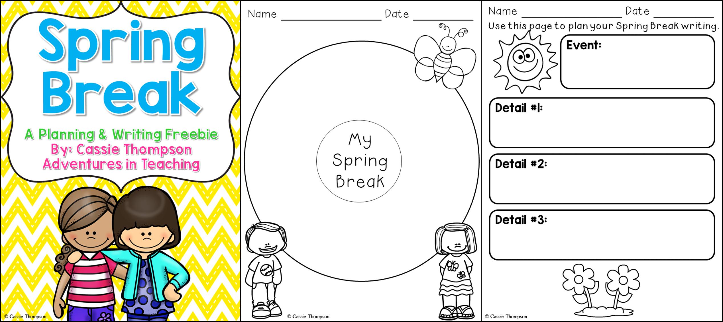 Spring Break Writing Freebie   Adventures In Teaching   Spring Break Printable Worksheets