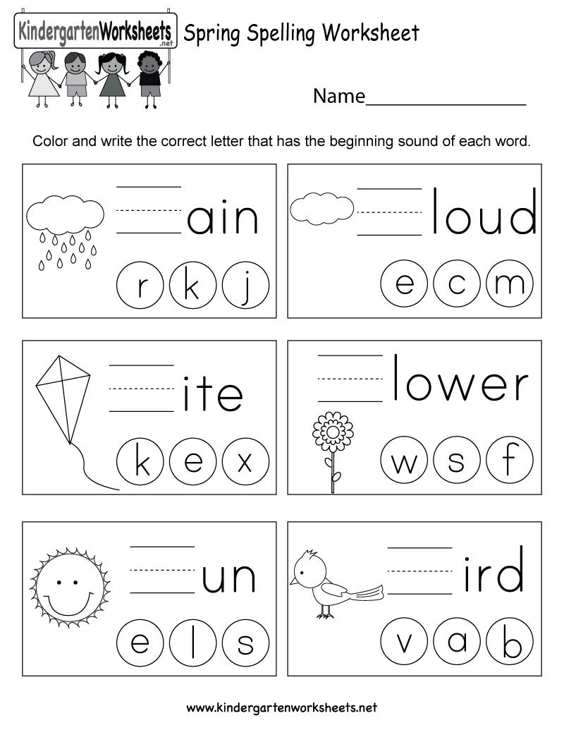 Spring Spelling Worksheet - Free Kindergarten Seasonal Worksheet For | Spelling For Kids Worksheets Printable