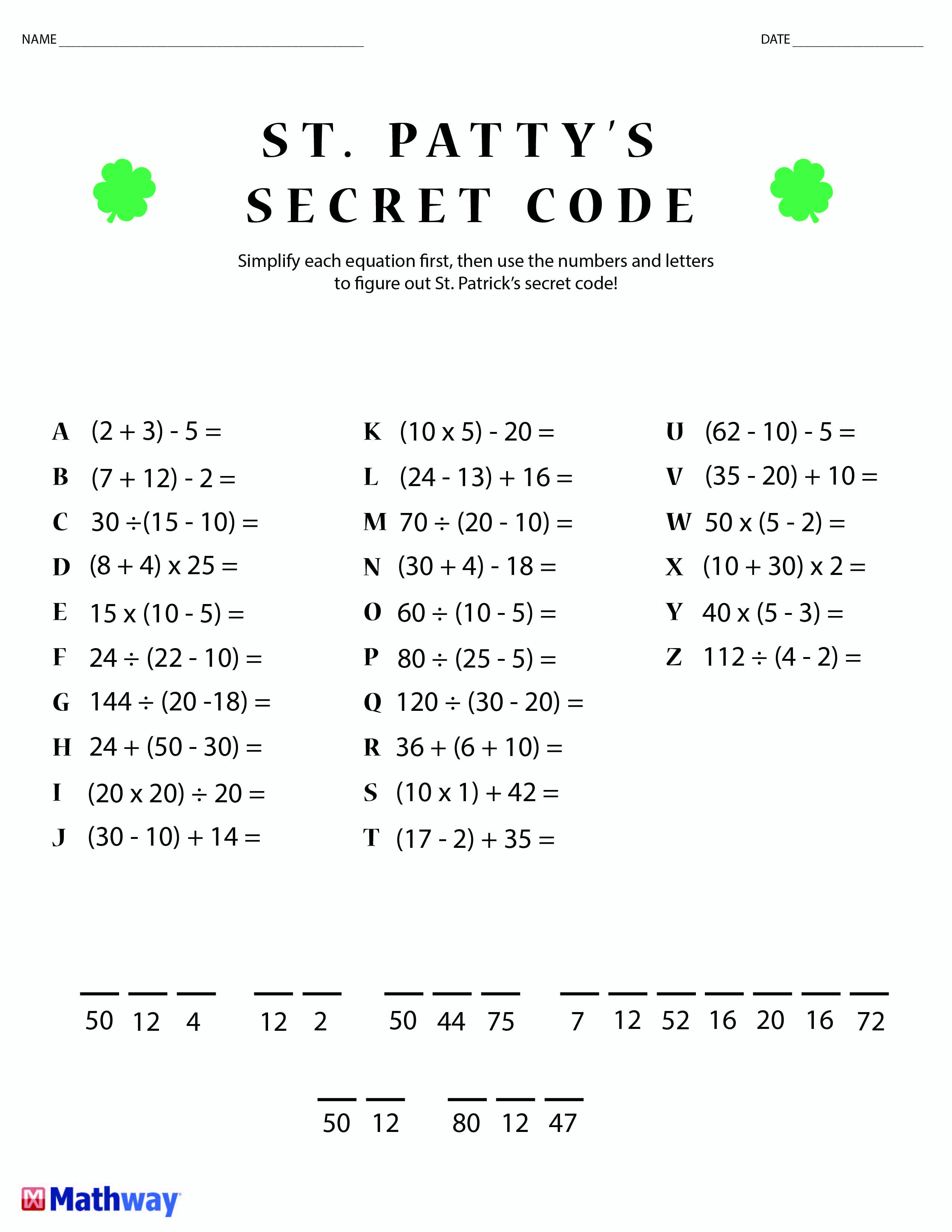 St. Patty's Day Crack The Secret Code Worksheet! Print This One Out | Crack The Code Worksheets Printable