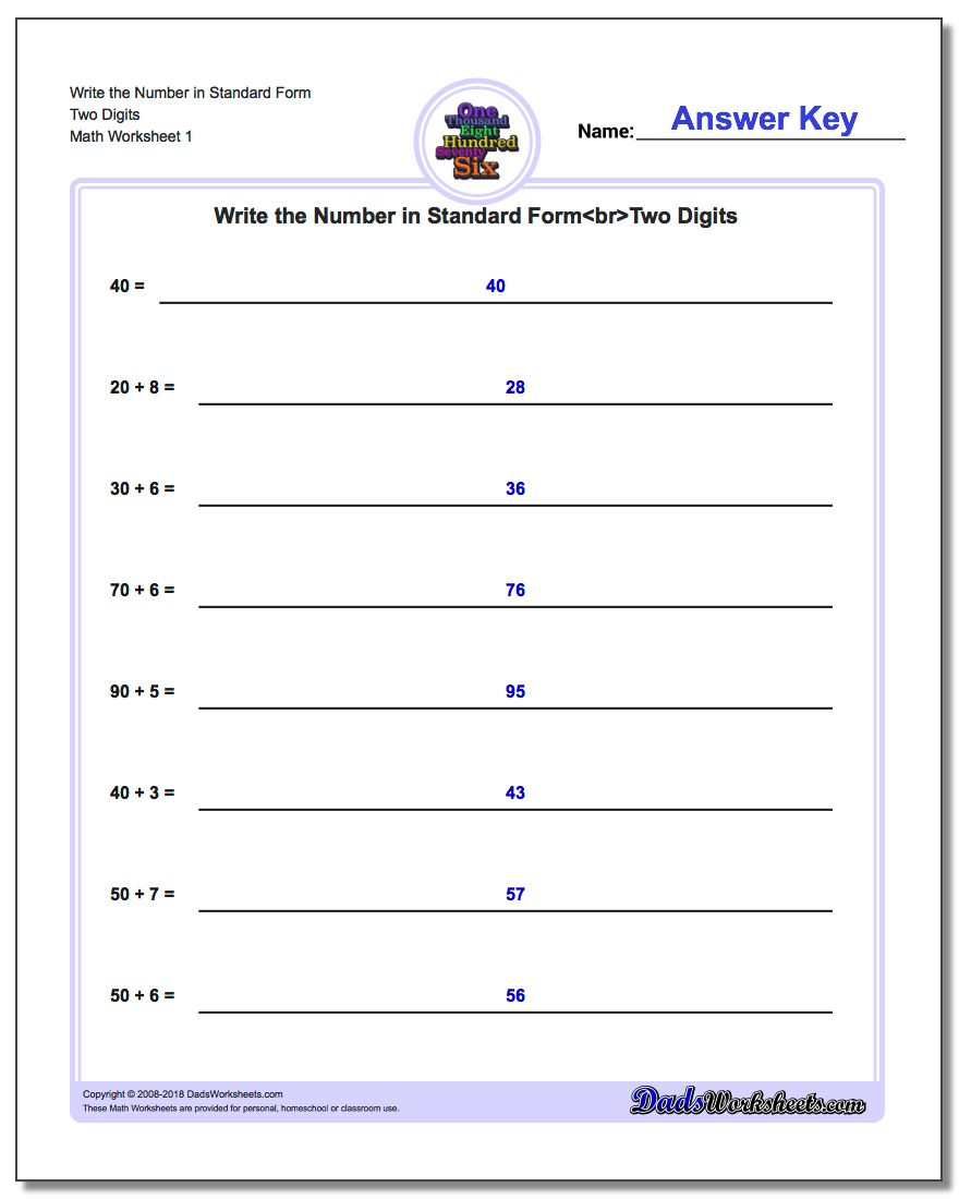 Standard, Expanded And Word Form | Free Printable Expanded Notation Worksheets