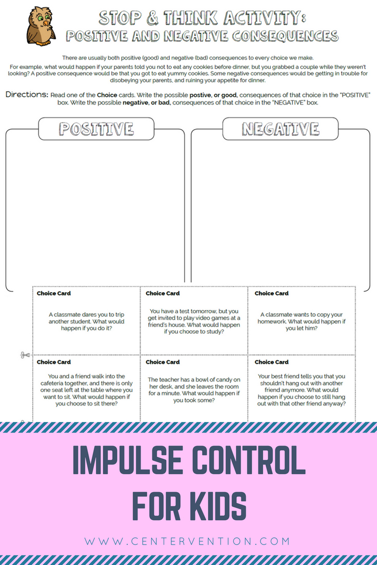 Stop And Think | Elementary School Counseling | Printables And | Impulse Control Worksheets Printable