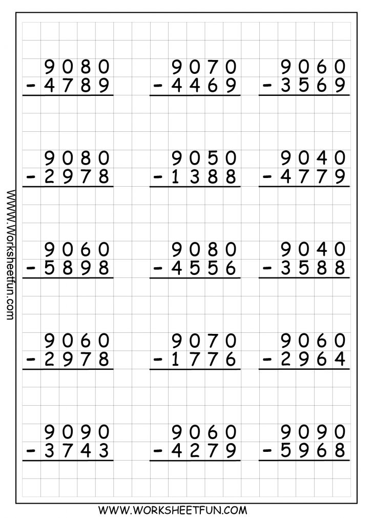 Printable Subtraction Worksheets With Regrouping