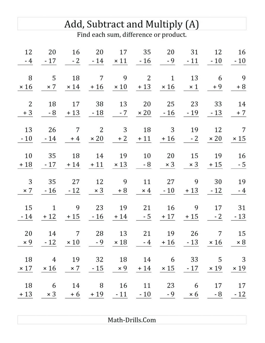 Subtraction Worksheet For 1St Grade First Adding Tens Printable With   Mad Minute Math Subtraction Worksheets Printable