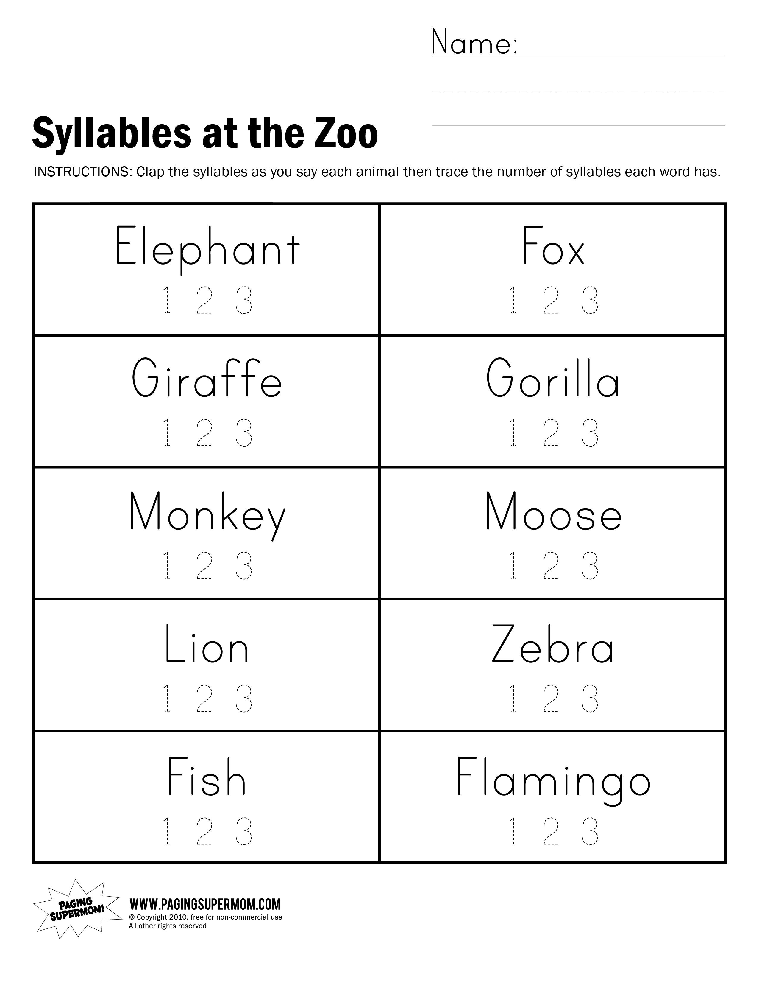 Syllables At The Zoo Worksheet - Free Printable Open And Closed | Free Printable Open And Closed Syllable Worksheets