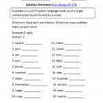 Syllables Worksheet 1 Ela Literacy.rf.3.3C Reading Foundational | 3Rd Grade Language Arts Worksheets Printables