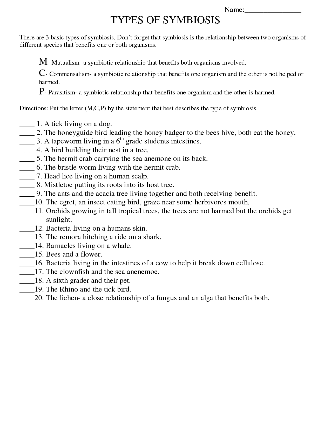 Symbiosis Worksheet: Free Printable Worksheets On High School Bio | Free Printable Biology Worksheets For High School