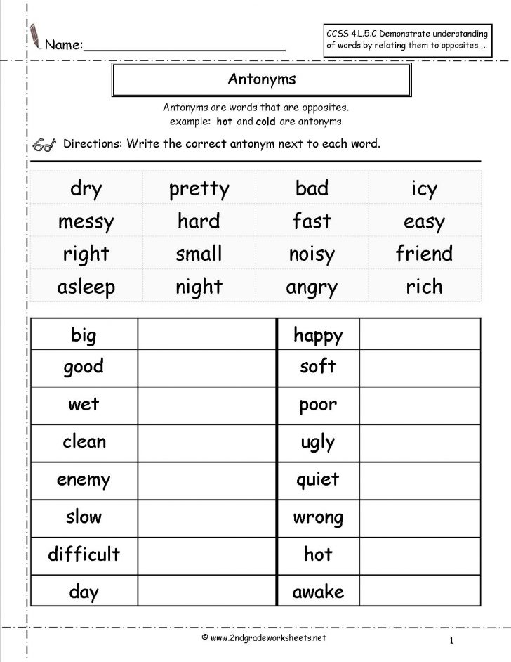 Free Printable Antonym Worksheets