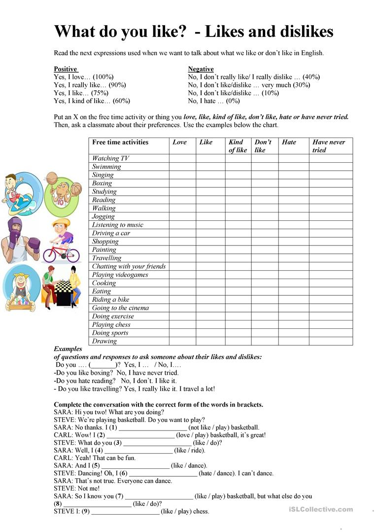 Talking About Likes And Dislikes Worksheet - Free Esl Printable | Likes And Dislikes Worksheets Printable