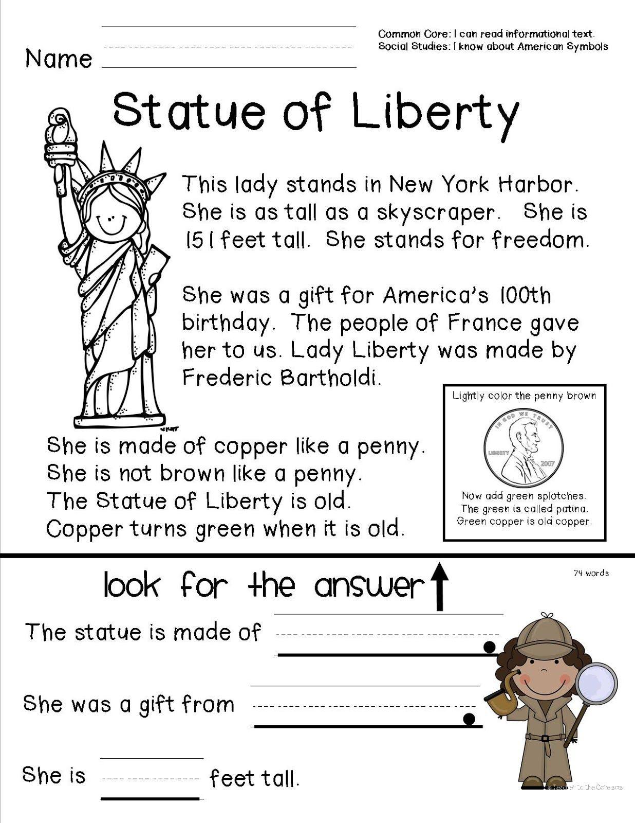 Teacher To The Core: American Symbols | Top Teachers Smorgasboard | Free Printable Social Studies Worksheets For 1St Grade