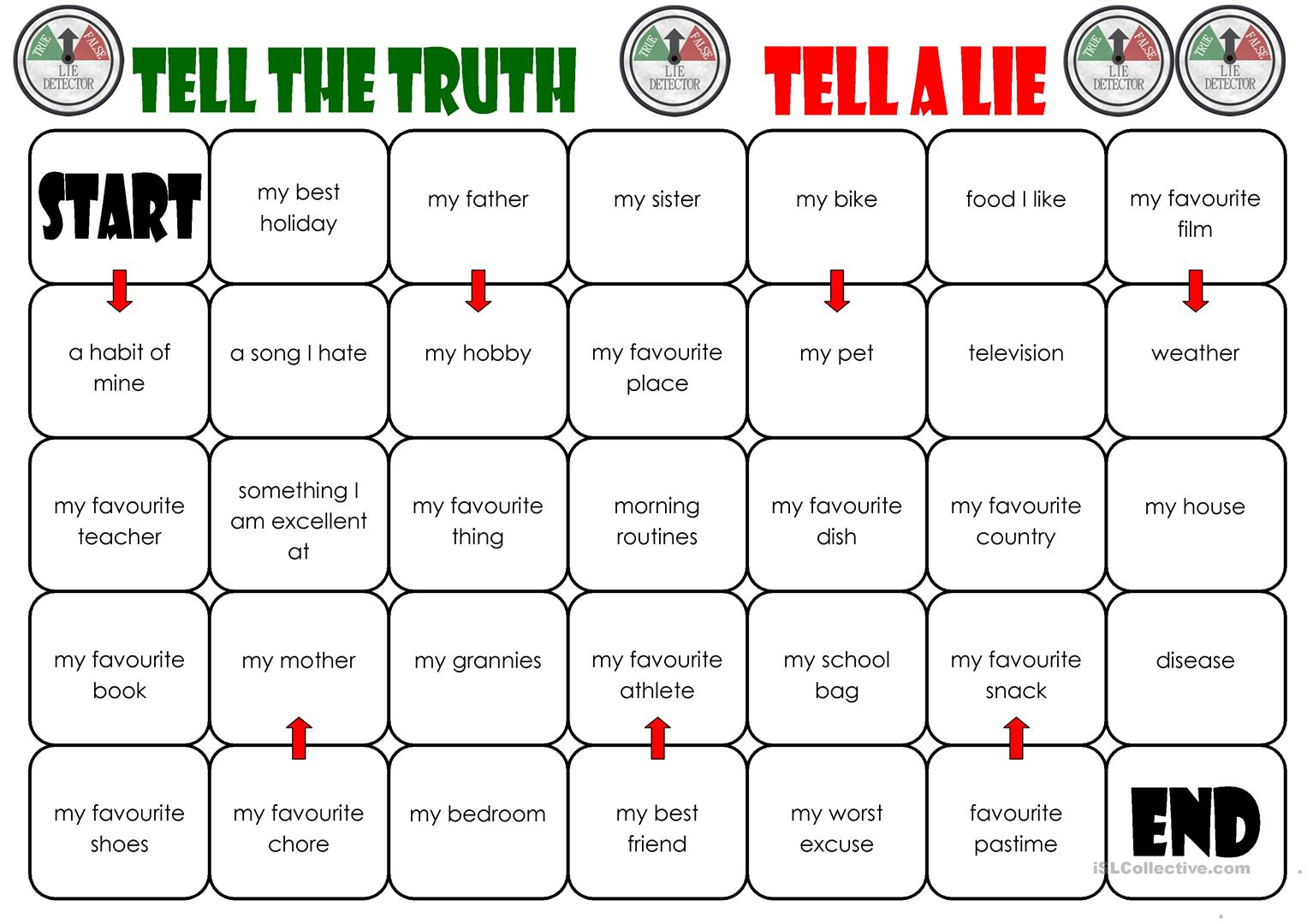 Tell The Truth/tell A Lie Board Game Worksheet - Free Esl Printable | Two Truths And A Lie Worksheet Printable