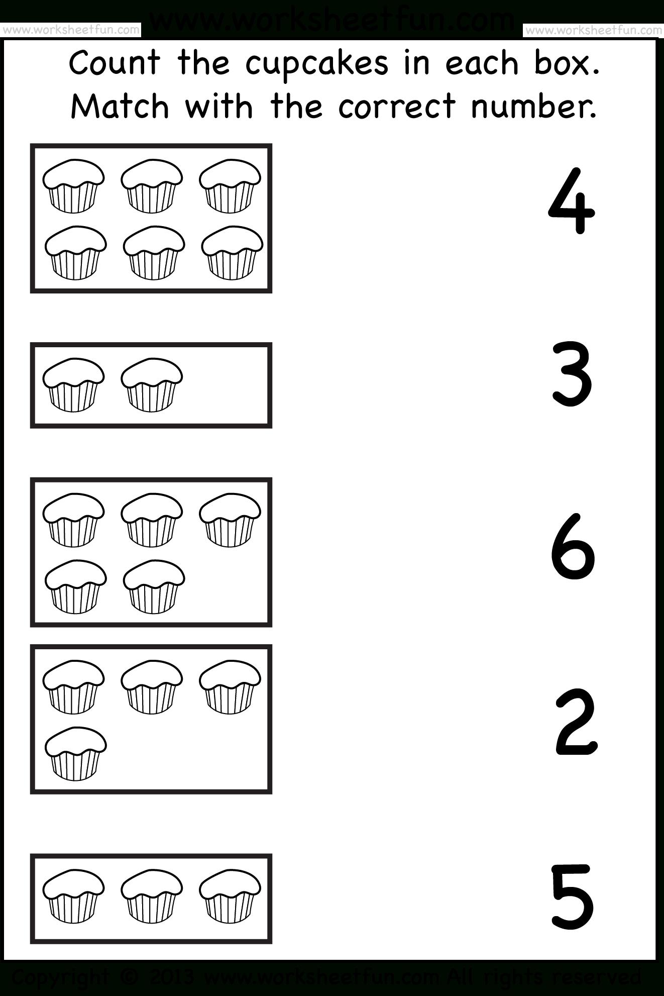 Tellen En Match_Cupcakes_Wfun_1 | -Printables- | Free Kindergarten | Counting Printable Worksheets For Kindergarten