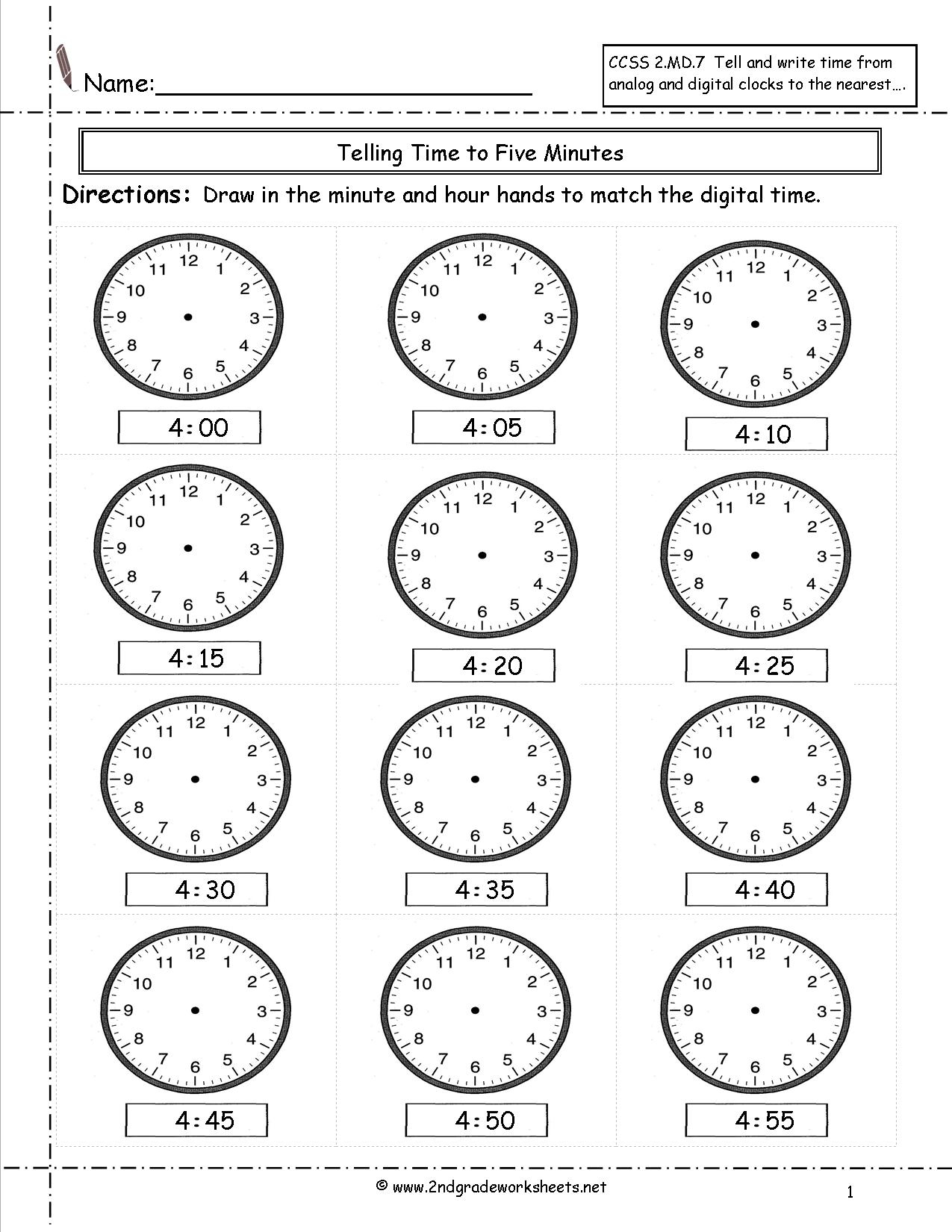 Telling And Writing Time Worksheets | Telling Time Worksheets Printable