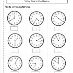 Telling Time To Nearest Five Minutes Worksheet | Educational 2Nd | Printable Clock Worksheets First Grade