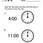 Telling Time Worksheet   Free Kindergarten Math Worksheet For Kids | Free Printable Time Worksheets For Kindergarten