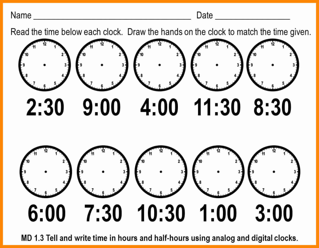 Telling Time Worksheets Printable – Worksheet Template - Free | Free Printable Telling Time Worksheets For 1St Grade