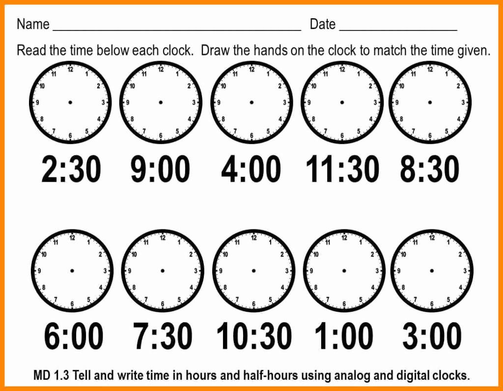 Telling Time Worksheets Printable – Worksheet Template - Free | Telling Time Worksheets Printable