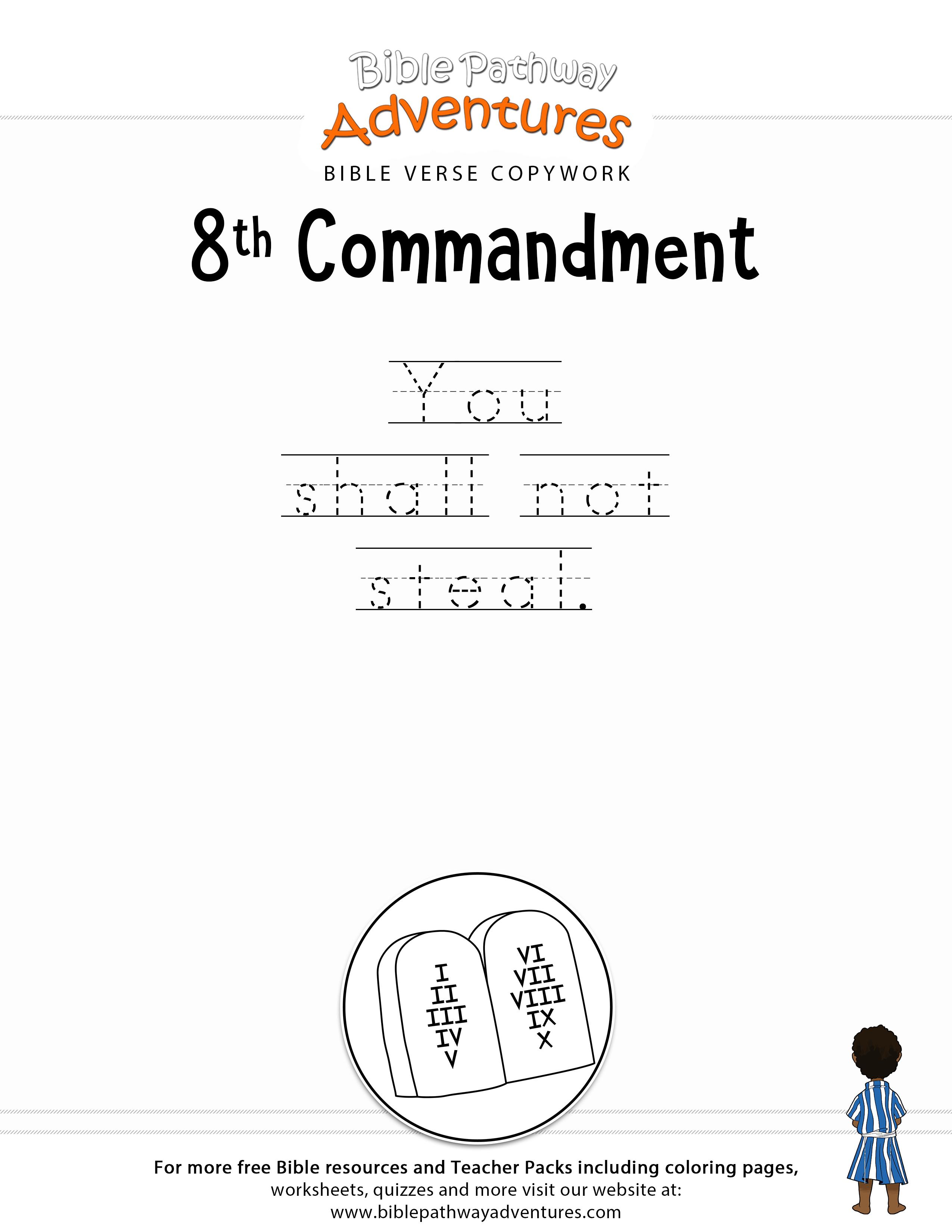 Ten Commandments Copywork: 8Th Commandment | Bible Story:10 | 10 Commandments Printable Worksheets
