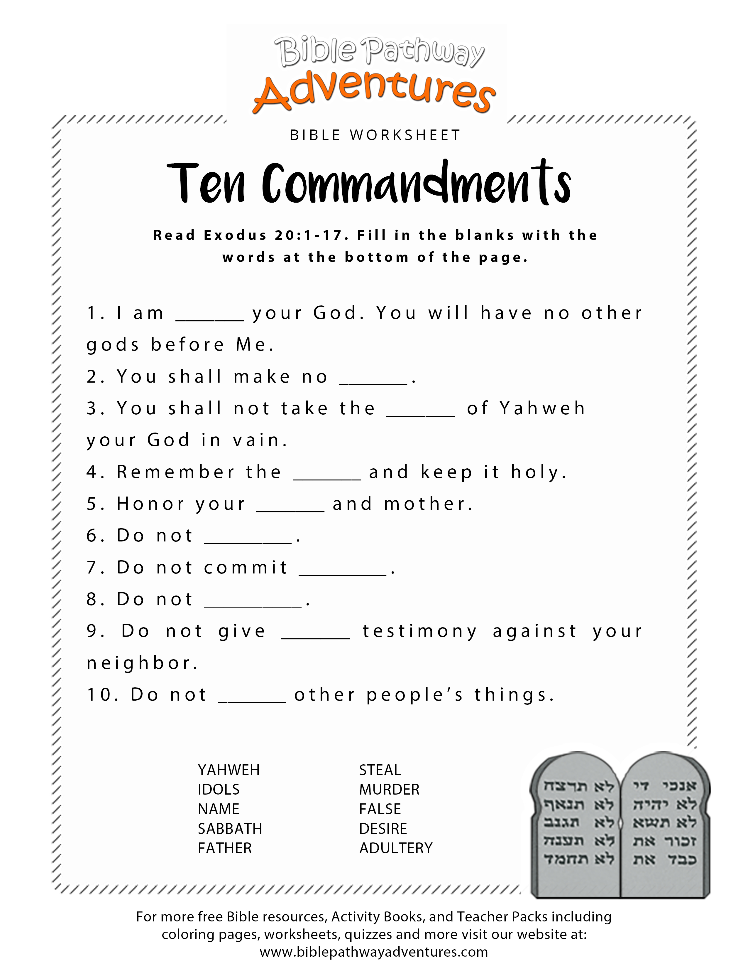 Ten Commandments Worksheet For Kids | Junior Church | Bible Lessons | Free Printable Children's Bible Lessons Worksheets