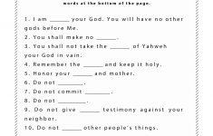 Ten Commandments Worksheet For Kids | Junior Church | Bible Lessons | Free Printable Children's Bible Worksheets
