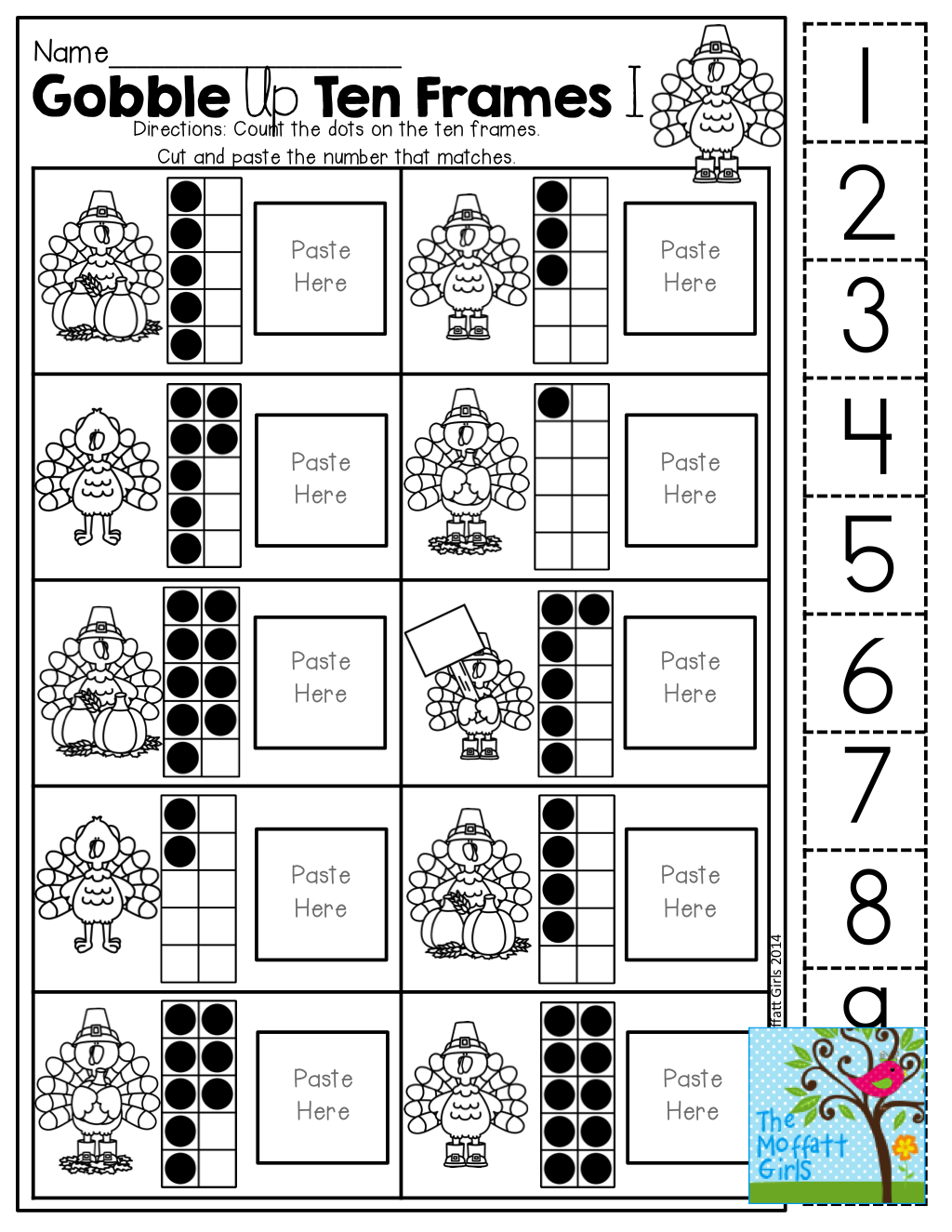 Ten Frame (Cut And Paste)! Tons Of Hands-On Printables! | Kinderland | Frame Games Printable Worksheets