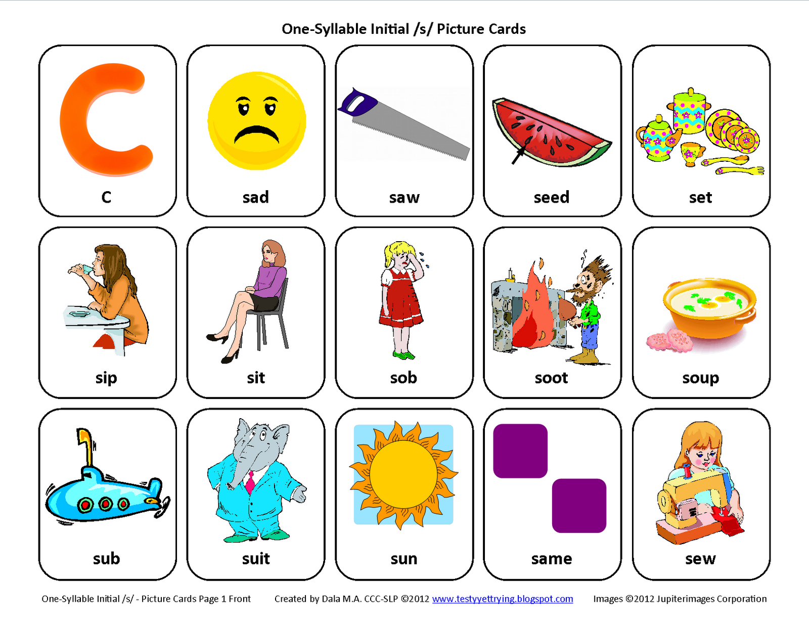 Testy Yet Trying: Initial S: Free Speech Therapy Articulation | Articulation Printable Worksheets