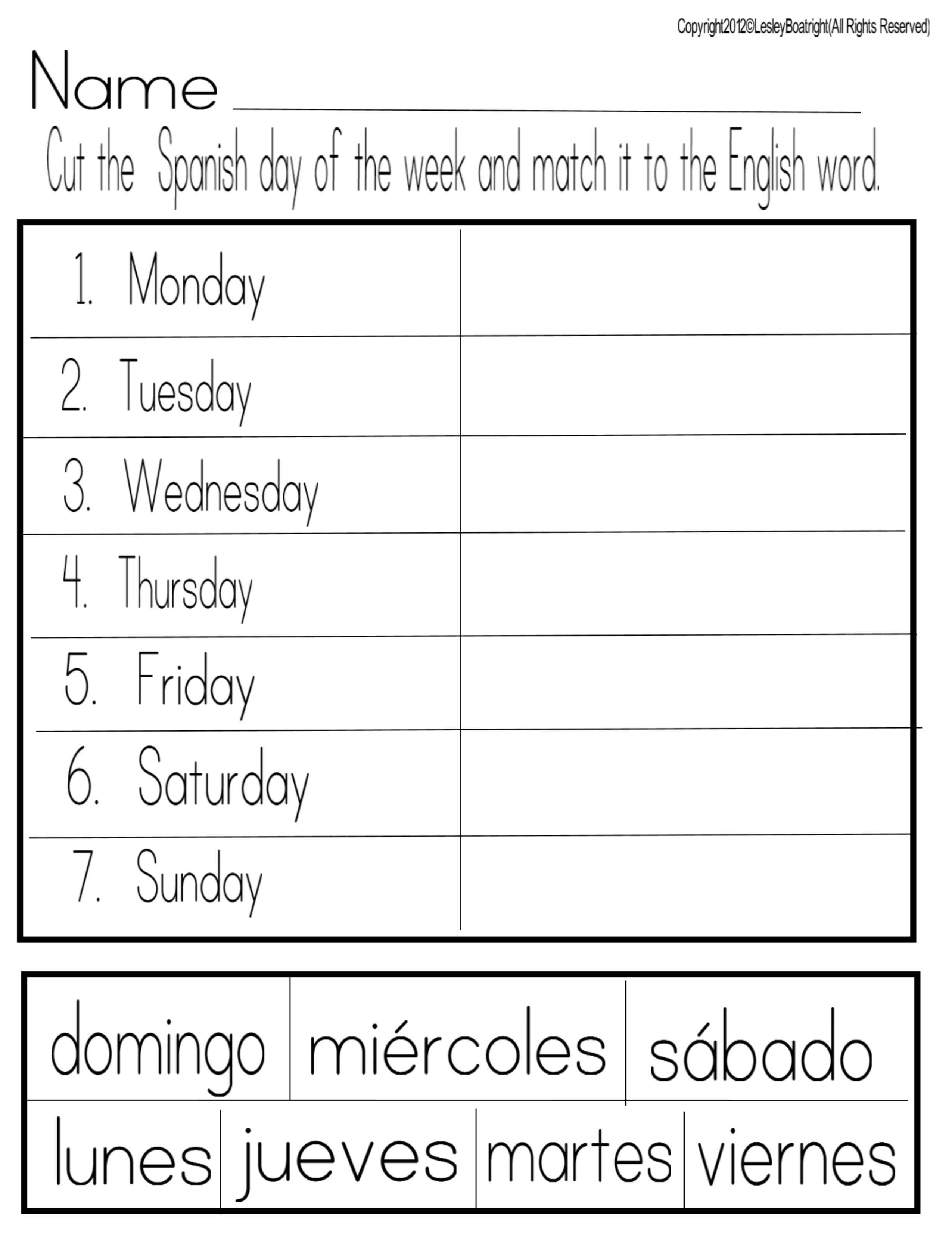 Thank You God! | Spanish | Preschool Spanish, Spanish Worksheets | Printable French Worksheets Days Of The Week