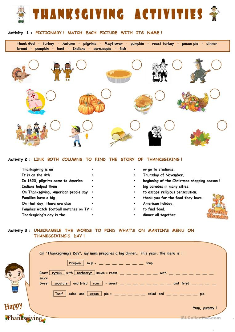 Thanksgiving Activities Worksheet - Free Esl Printable Worksheets | Free Printable Thanksgiving Worksheets For Middle School