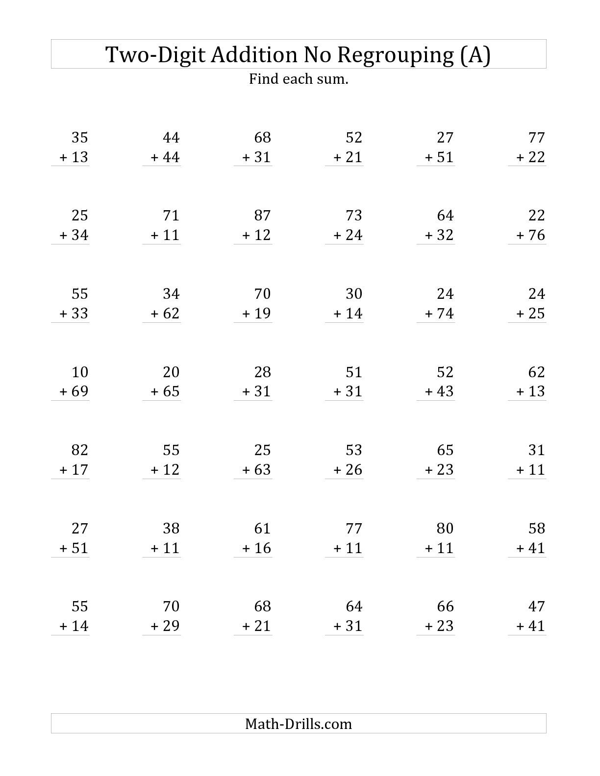 The 2-Digit Addition With No Regrouping (A) Math Worksheet From The   Free Printable Two Digit Addition Worksheets